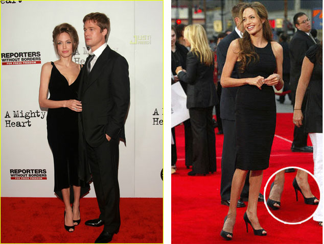 Angelina Jolie in her beloved peep-toe Louboutins. Image on left from justjared.com, image on right from runningwithheels.com